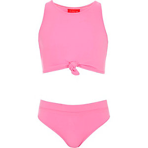 Ensemble de bikini crop top noué rose pour fille