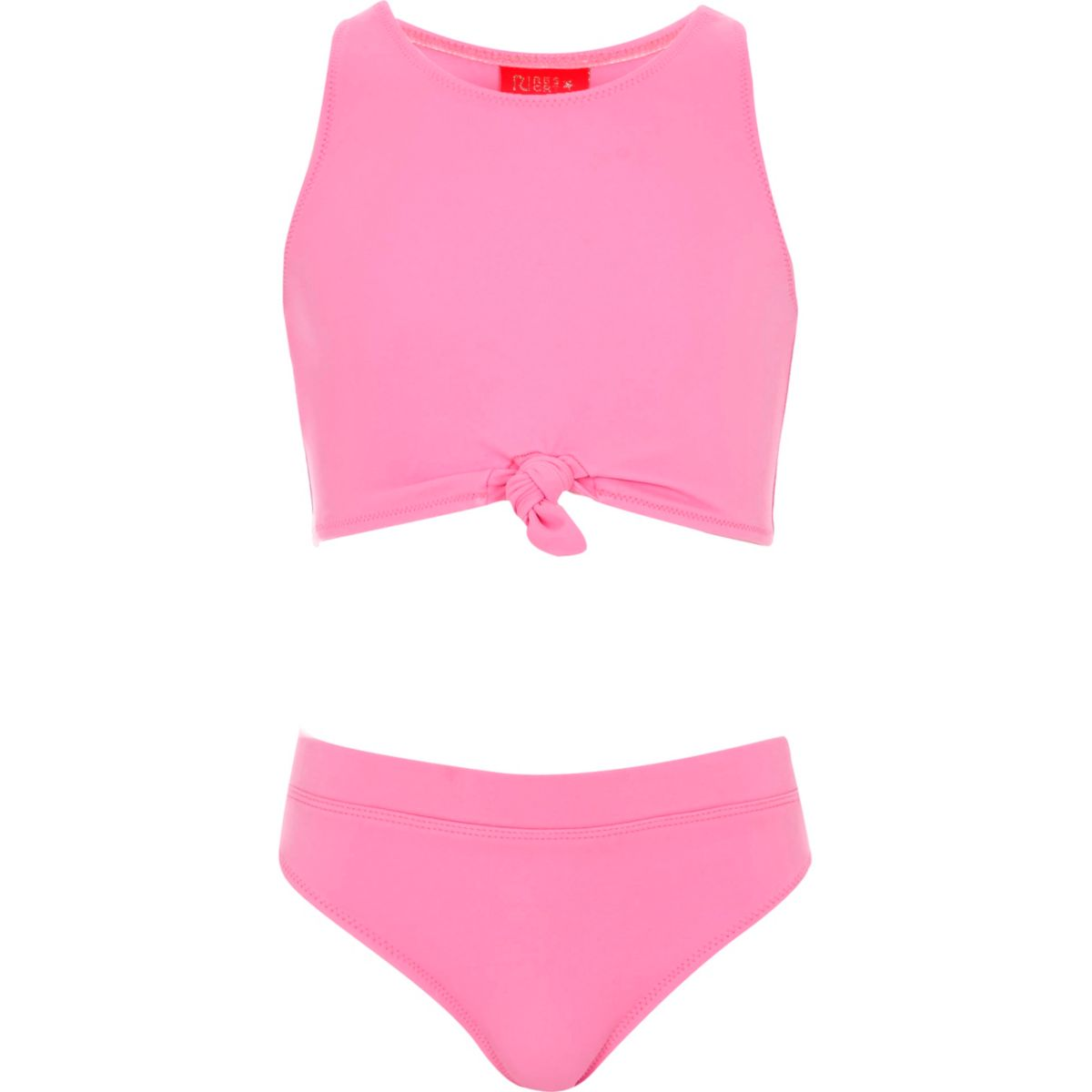 Girls pink knot crop top bikini set