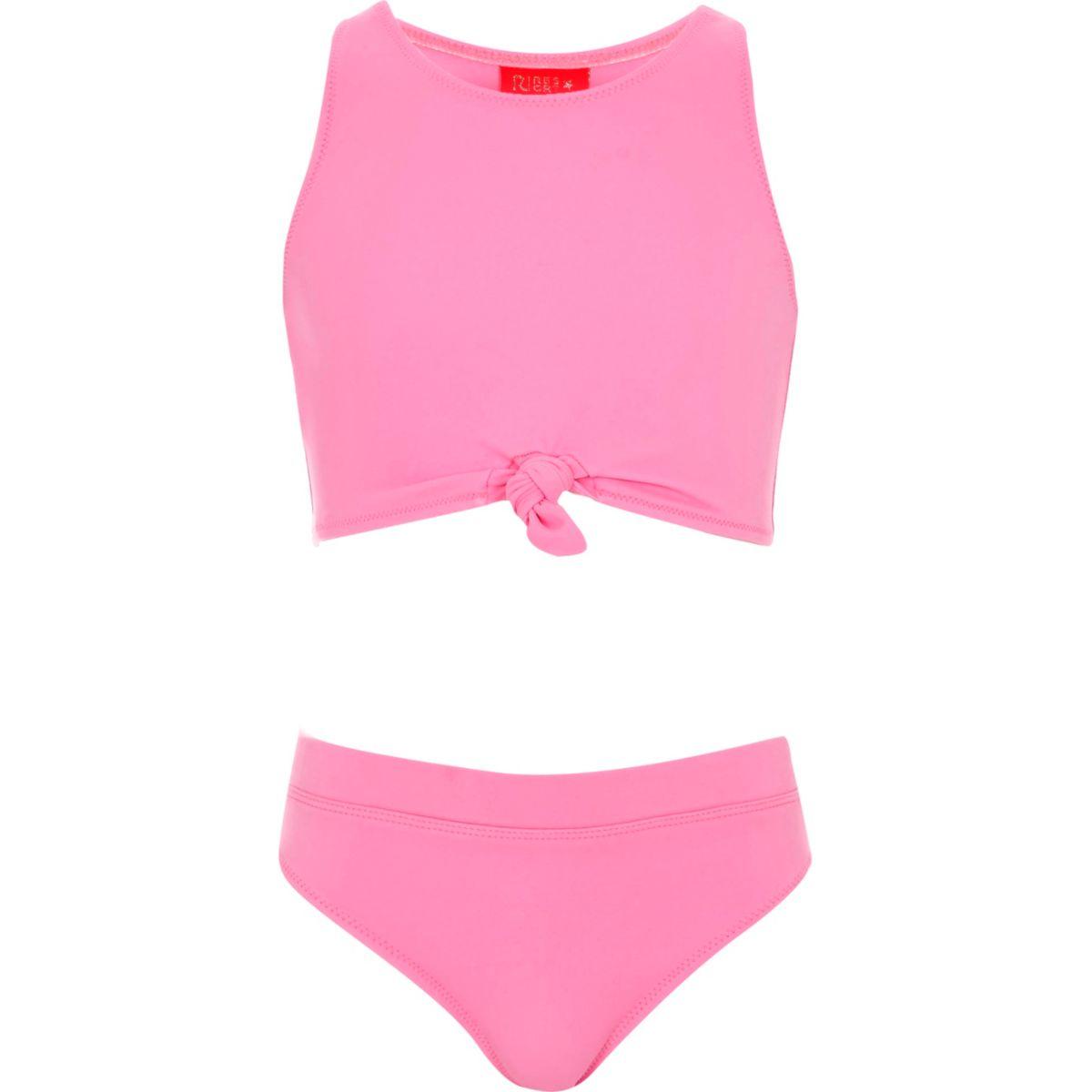 Girls pink knot crop top bikini set