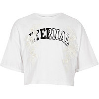 Girls white 'eternal' lace cropped T-shirt