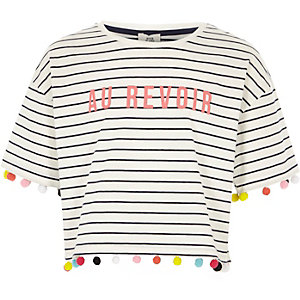 Girls white stripe print pom pom T-shirt