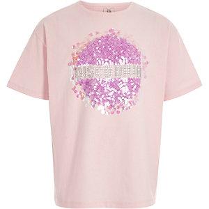 Girls light pink 'disco diva' sequin T-shirt