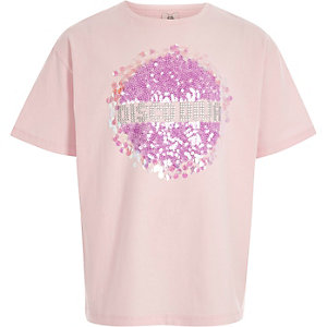 Girls light pink 'disco diva' sequin T-shirt