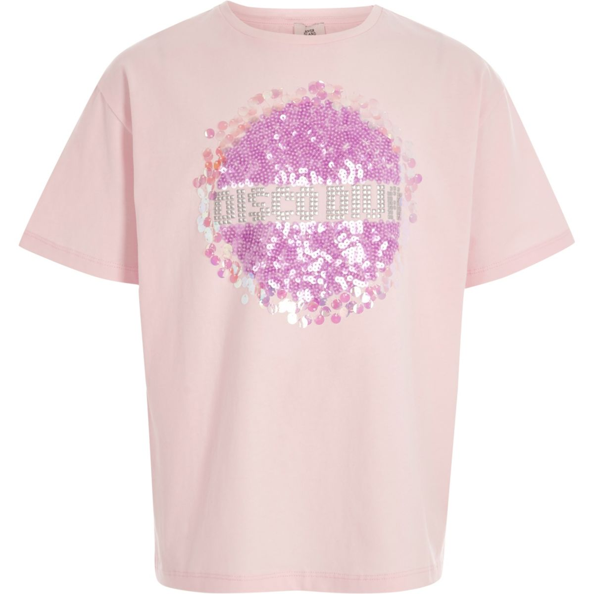 Girls light pink 39 disco diva 39 sequin t shirt tops sale for Girls sequin t shirt