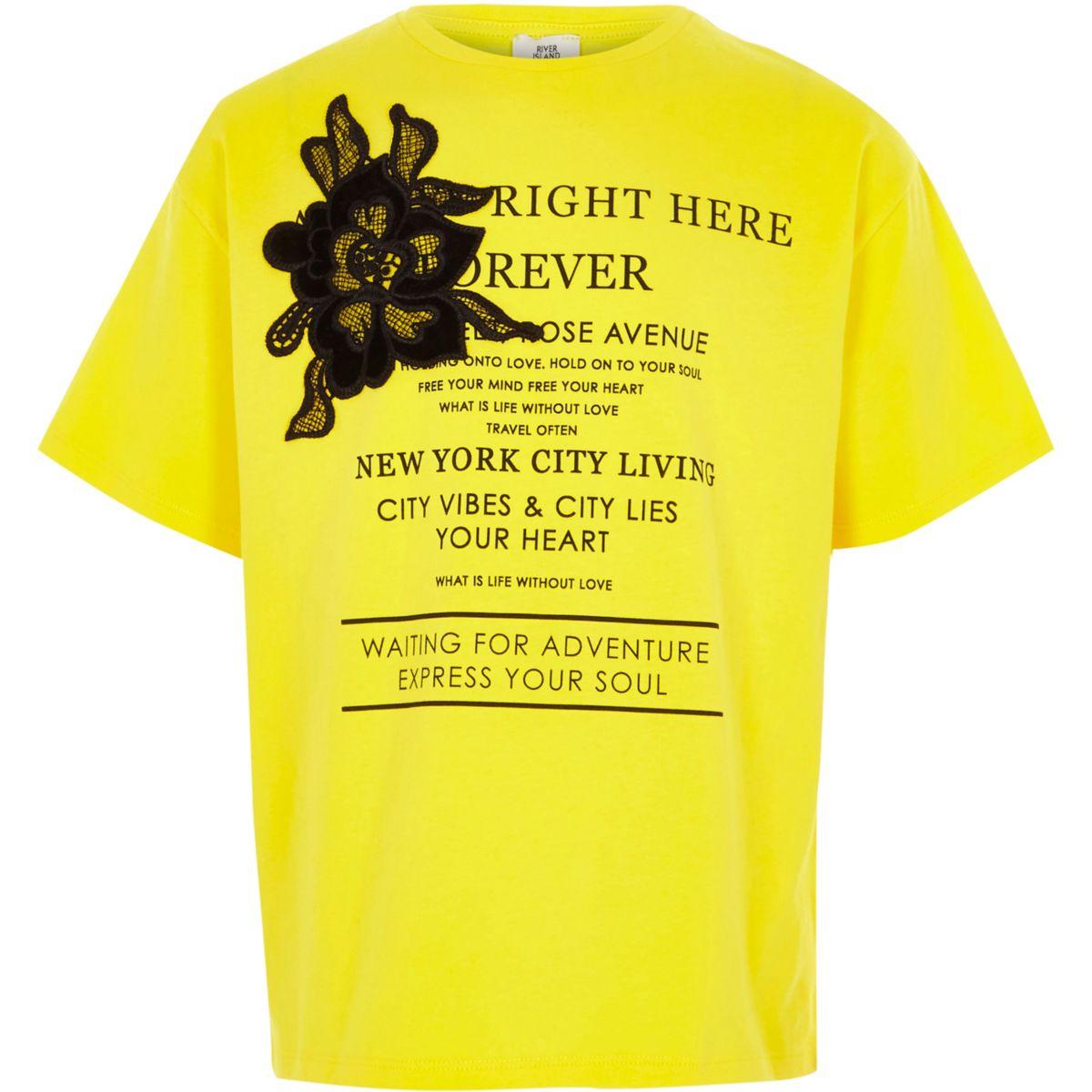 T-shirt jaune à appliqué fleur pour fille
