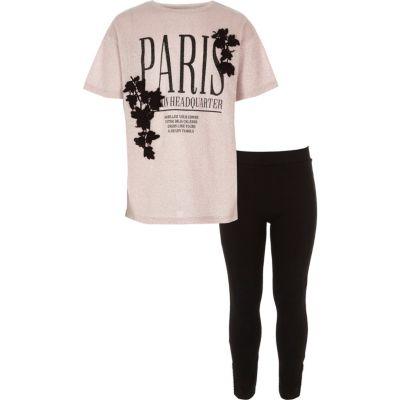 River Island Ensemble legging et t-shirt imprimé Paris rose pour fille