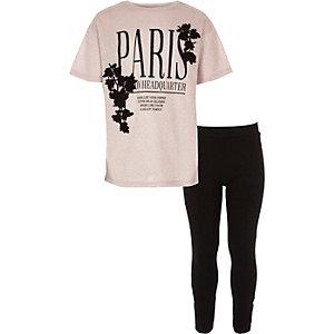 Meisjesoutfit met roze T-shirt met Paris-print en legging