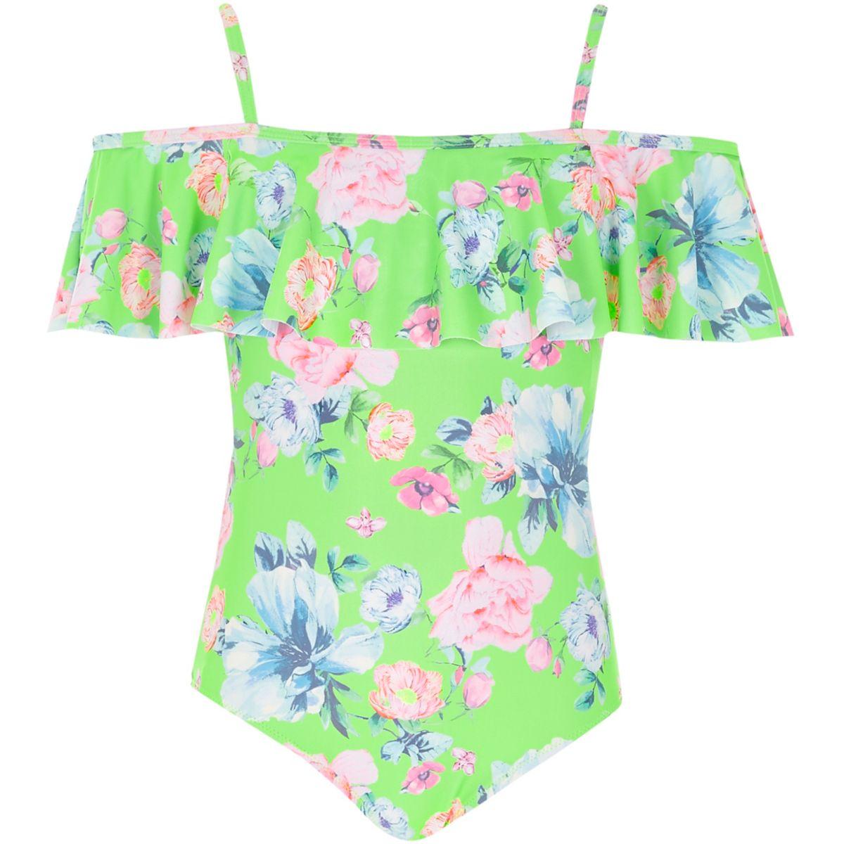 Girls green floral bardot frill swimsuit
