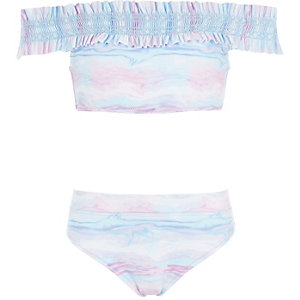 Girls blue tie dye shirred bardot bikini set