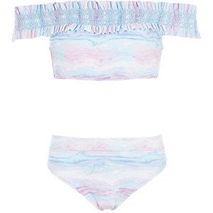 Blauwe tie-dye gesmokte bikiniset in bardotstijl voor meisjes