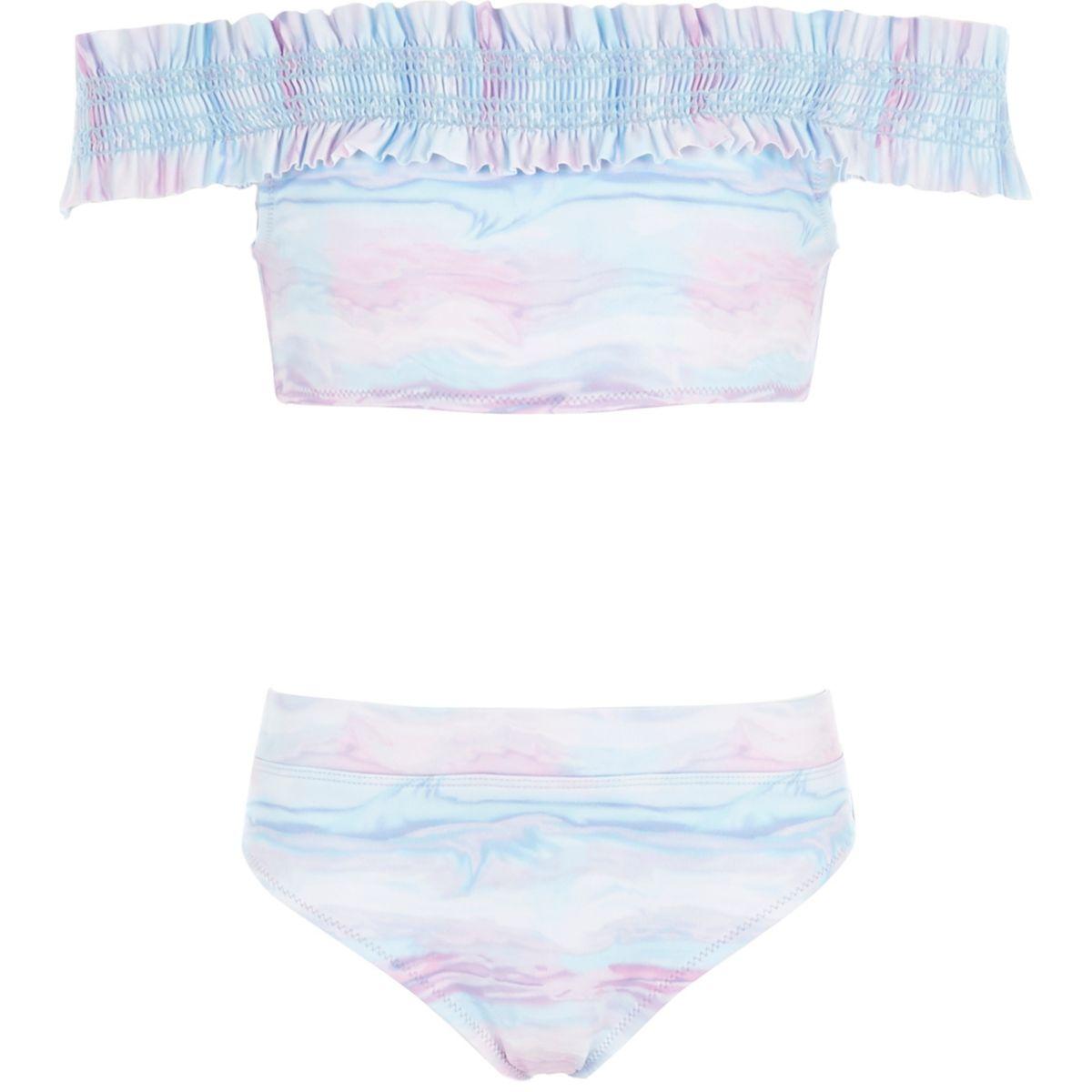 Bikini Bardot bleu tie and dye à fronces pour fille