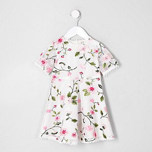 Mini girls white embroidered occasion dress