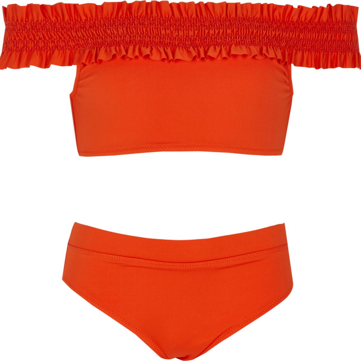 Girls red shirred bardot bikini