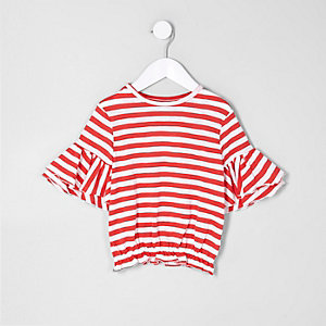 Mini girls red stripe frill sleeve T-shirt