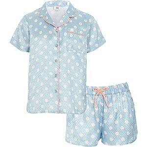 Ensemble avec chemise de pyjama à pois bleue pour fille