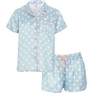 Set met blauwe pyjamashirt met stippen