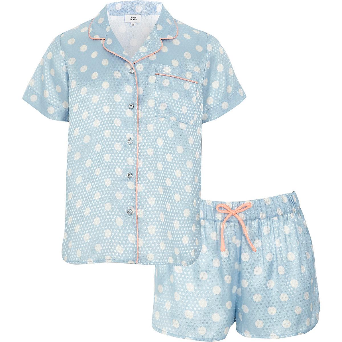 Girls blue polka dot pyjama shirt set
