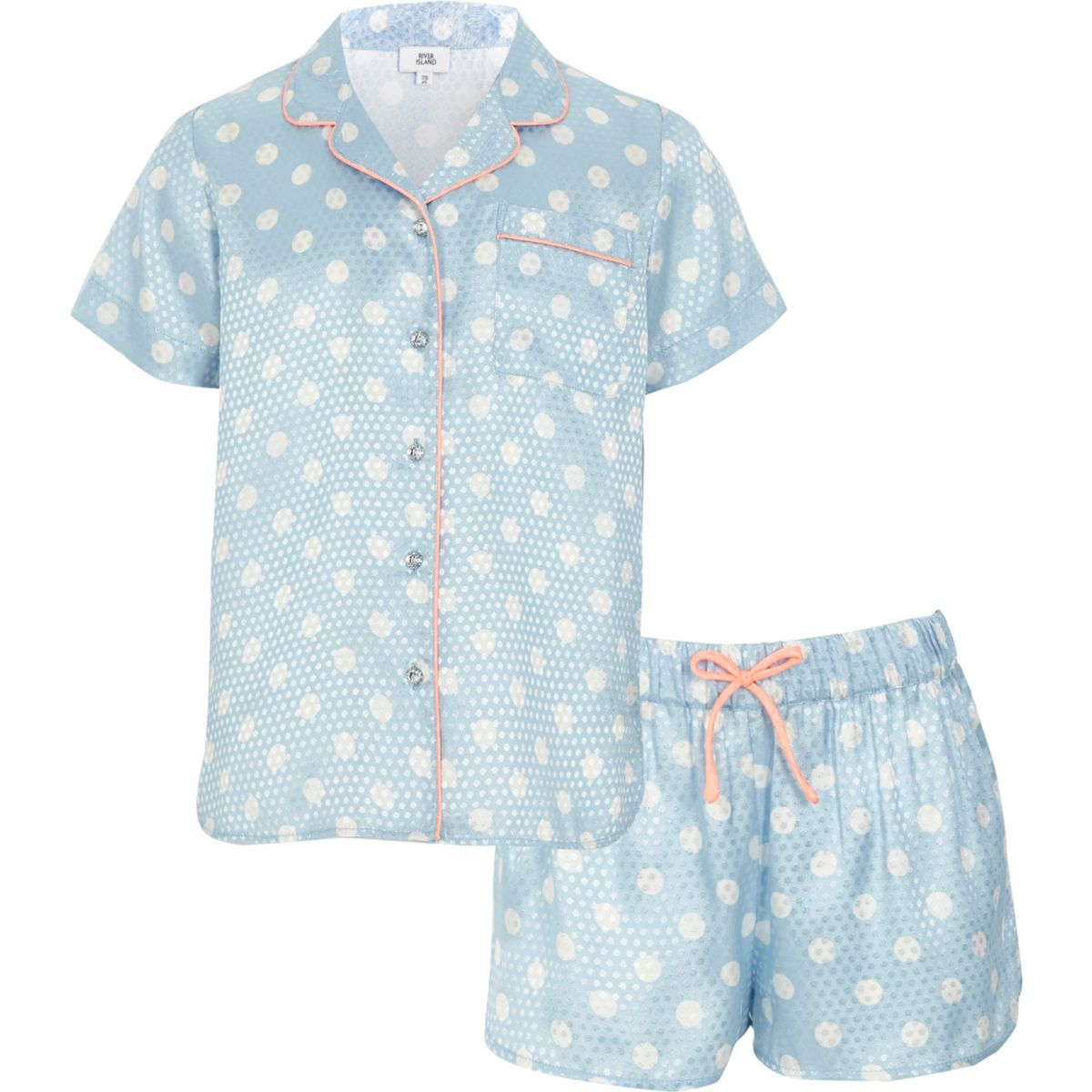 Girls blue polka dot pajama shirt set