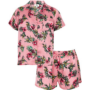 Girls pink satin tropical shirt pyjama set