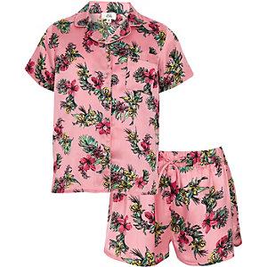 Roze satijnen pyjamaset met tropische print voor meisjes