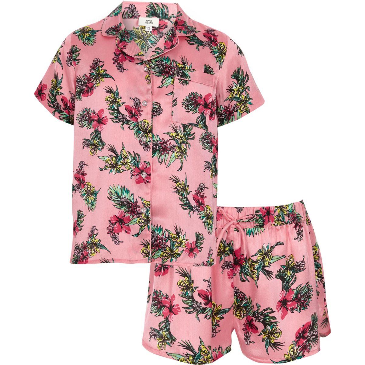 Girls pink satin tropical shirt pyjama set