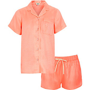 Girls coral jacquard shirt pajama set