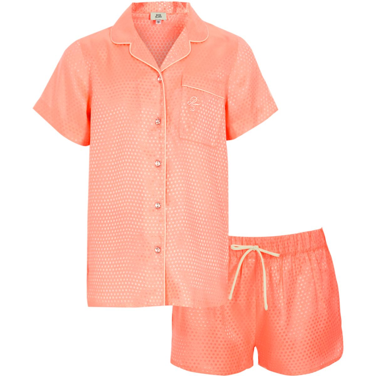 Girls coral jacquard shirt pyjama set