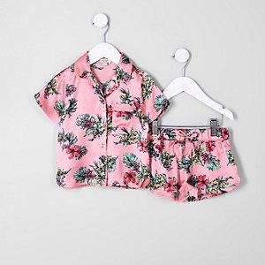 Mini - Roze pyjamaset met tropische print voor meisjes