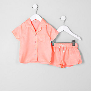 Mini girls coral jacquard shirt pajama set