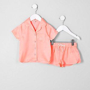 Mini - Set met koraalrood jacquard pyjamashirt voor meisjes