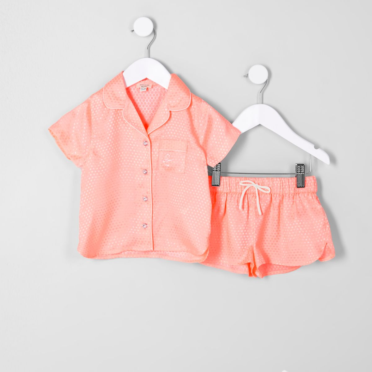 Mini girls coral jacquard shirt pyjama set