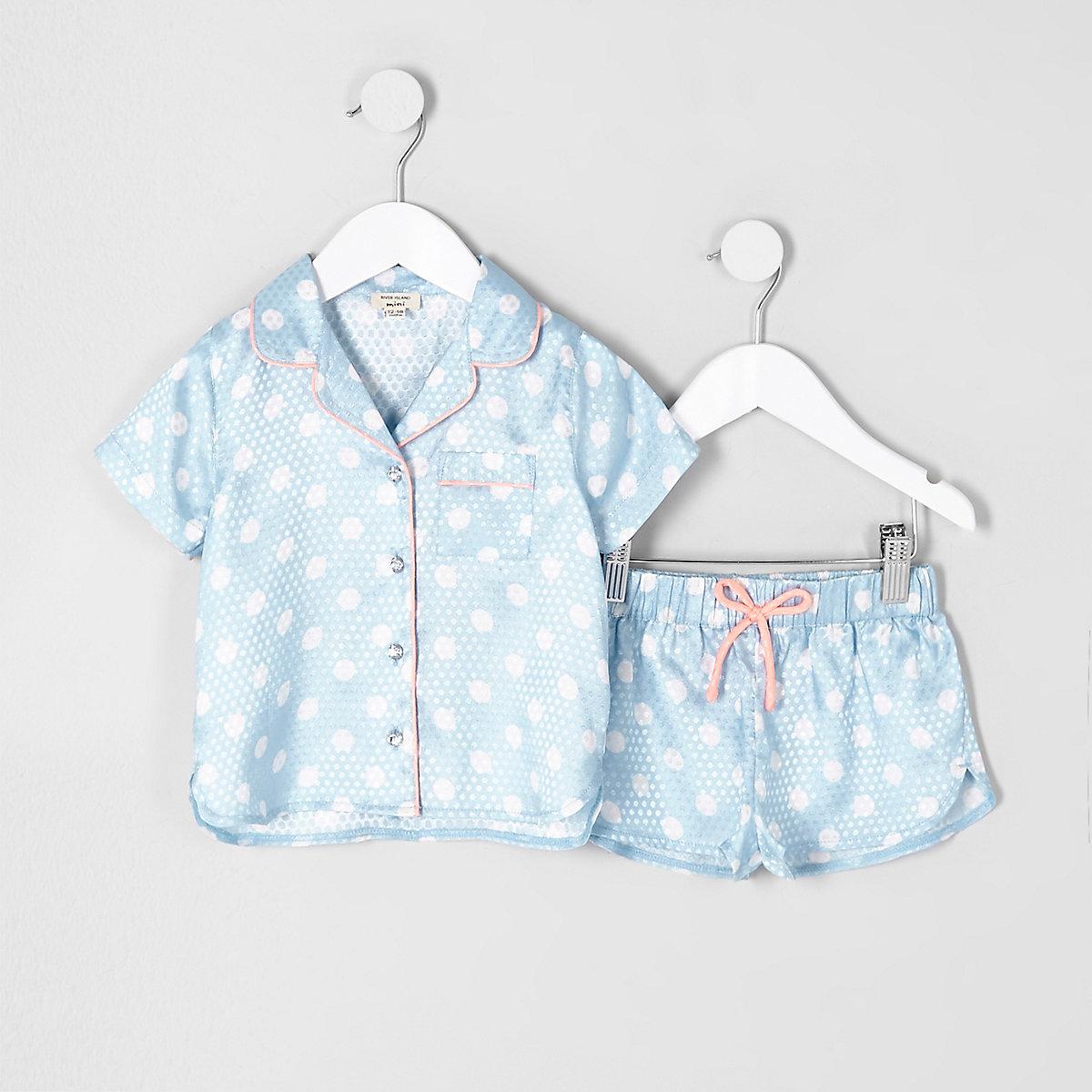 Mini girls blue polka dot pajama shirt set