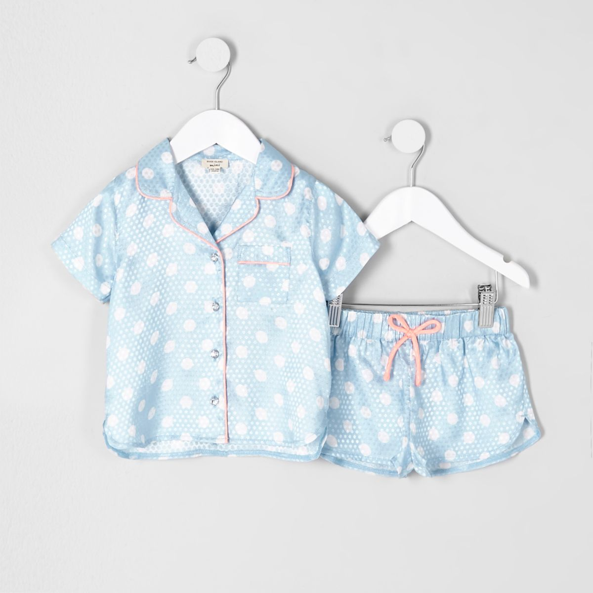 Mini girls blue polka dot pajama shirt set
