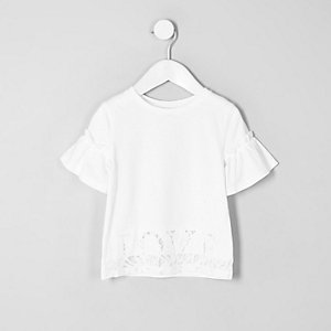 Mini girls white 'love' lace hem T-shirt