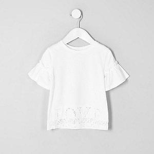 Mini girls white 'love' lace hem T-shirt