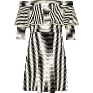 Girls black stripe pearl trim bardot dress