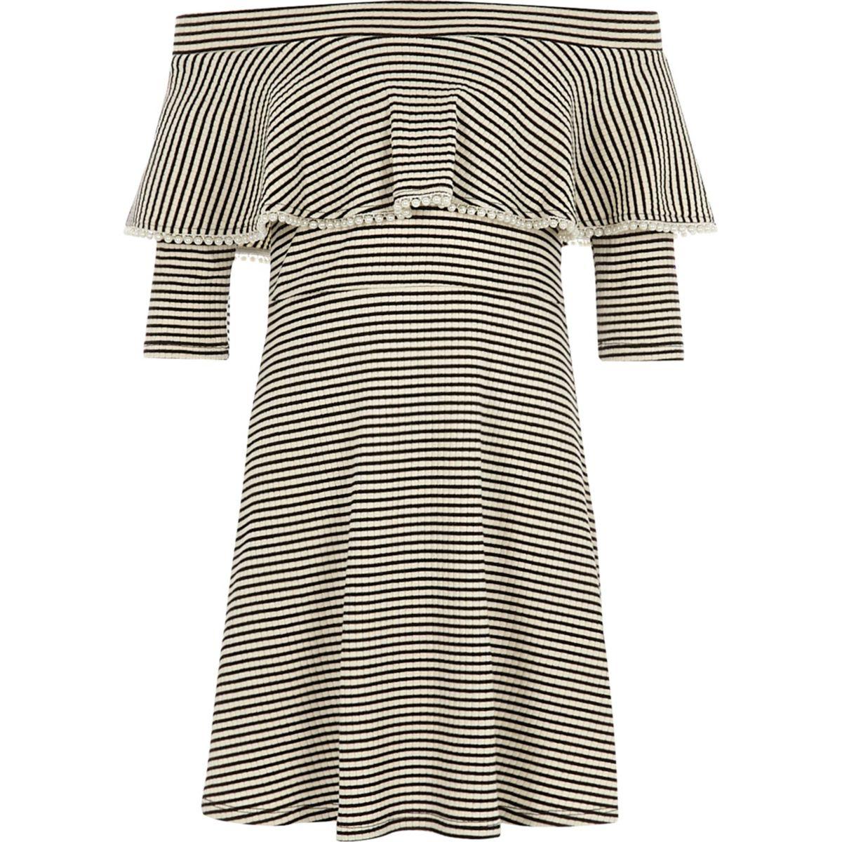 Girls black stripe pearl trim bardot dress