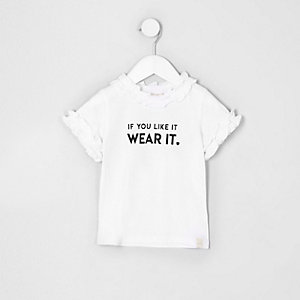 Mini - Wit T-shirt met 'If you like'-print voor meisjes