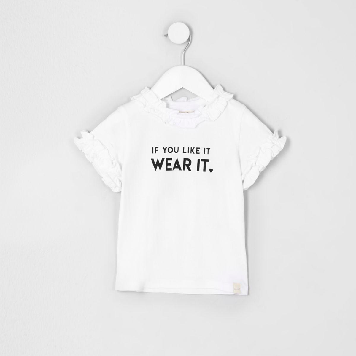 Mini girls white 'if you like' ruffle T-shirt