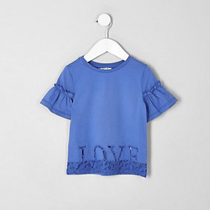 Mini girls blue 'love' lace hem T-shirt