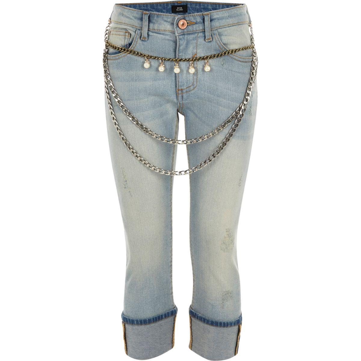 Girls blue chain belt turn up skinny jeans