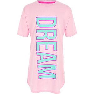 Roze nachtpon met 'dream'-print voor meisjes