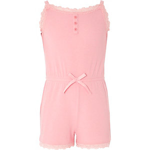 Girls pink cami lace pyjama playsuit