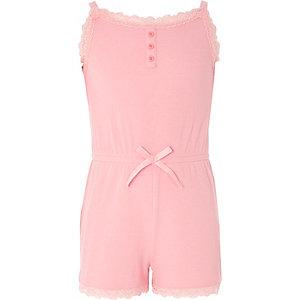 Girls pink cami lace pajama romper