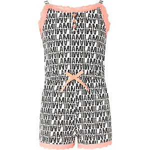 Girls black mono lace cami pajama romper