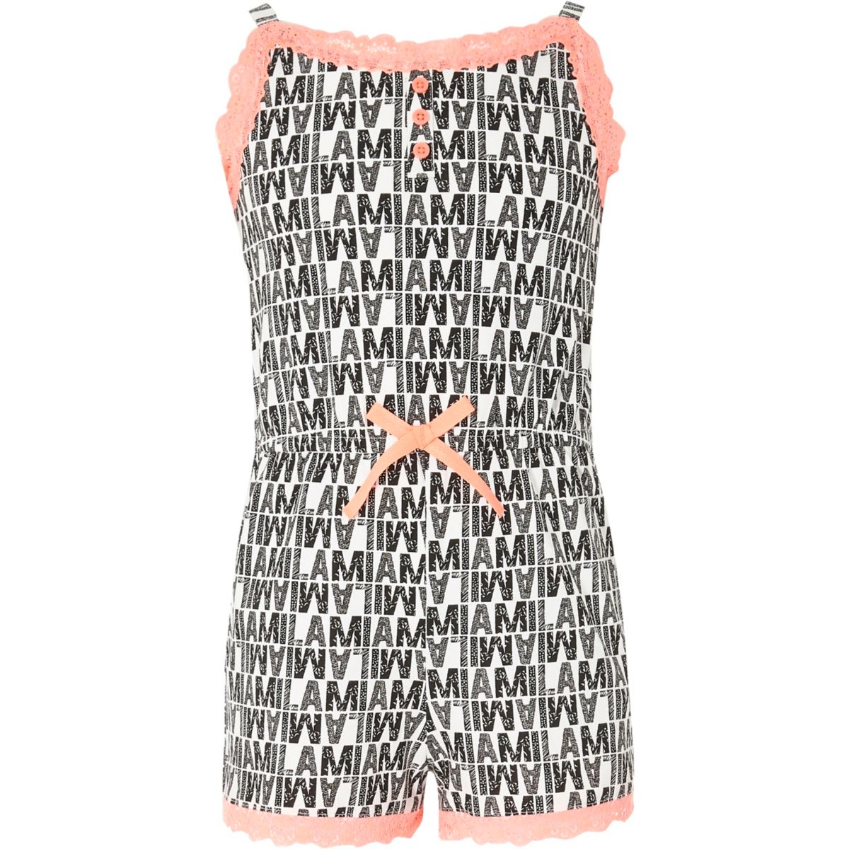 Girls black mono lace cami pyjama playsuit