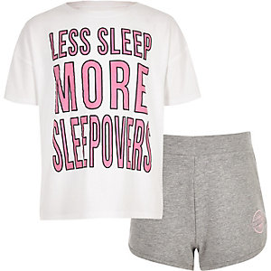 Girls white 'sleep less' pajama set