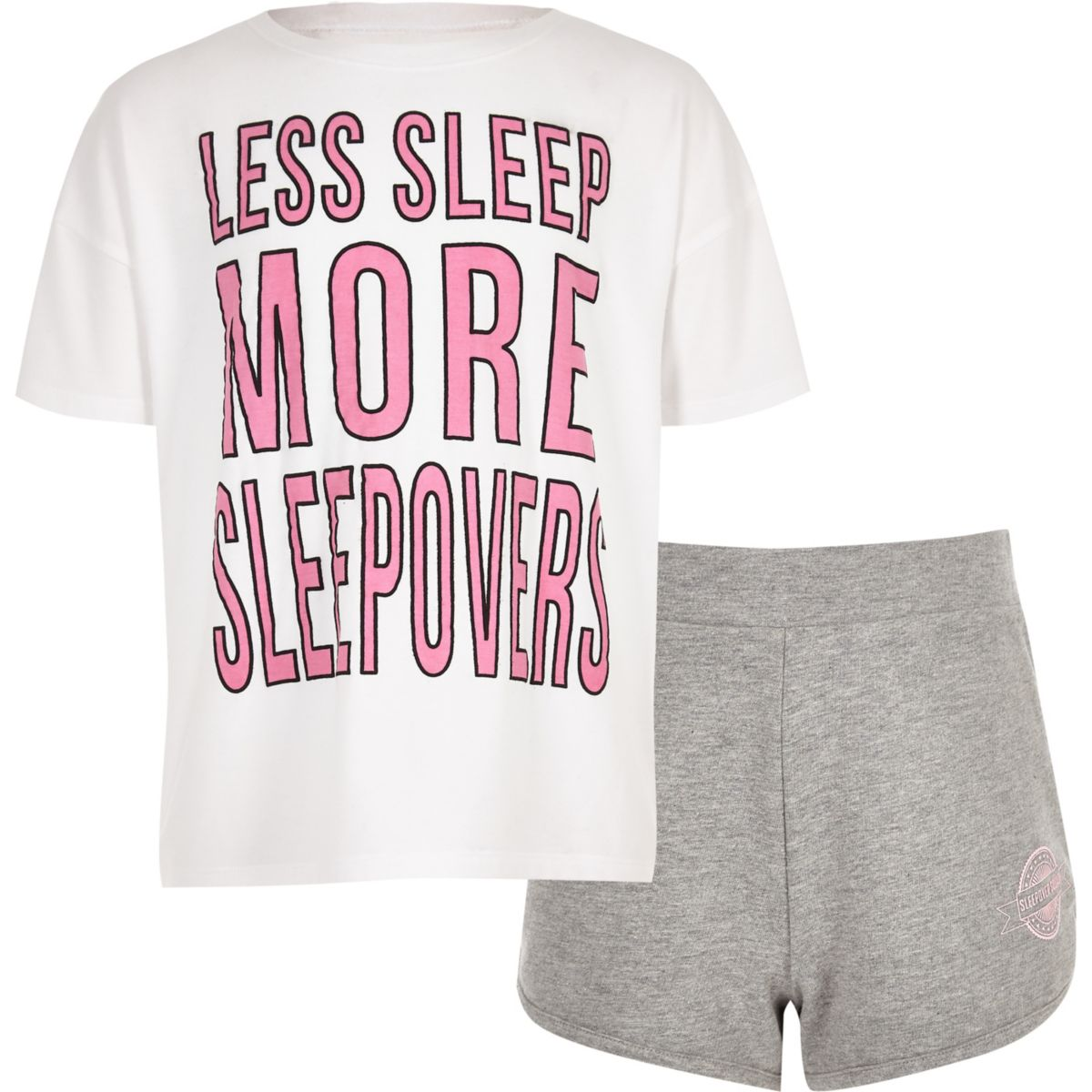Girls white 'sleep less' pyjama set