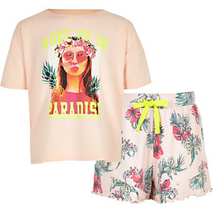 Girls pink 'woke up in paradise' pyjama set