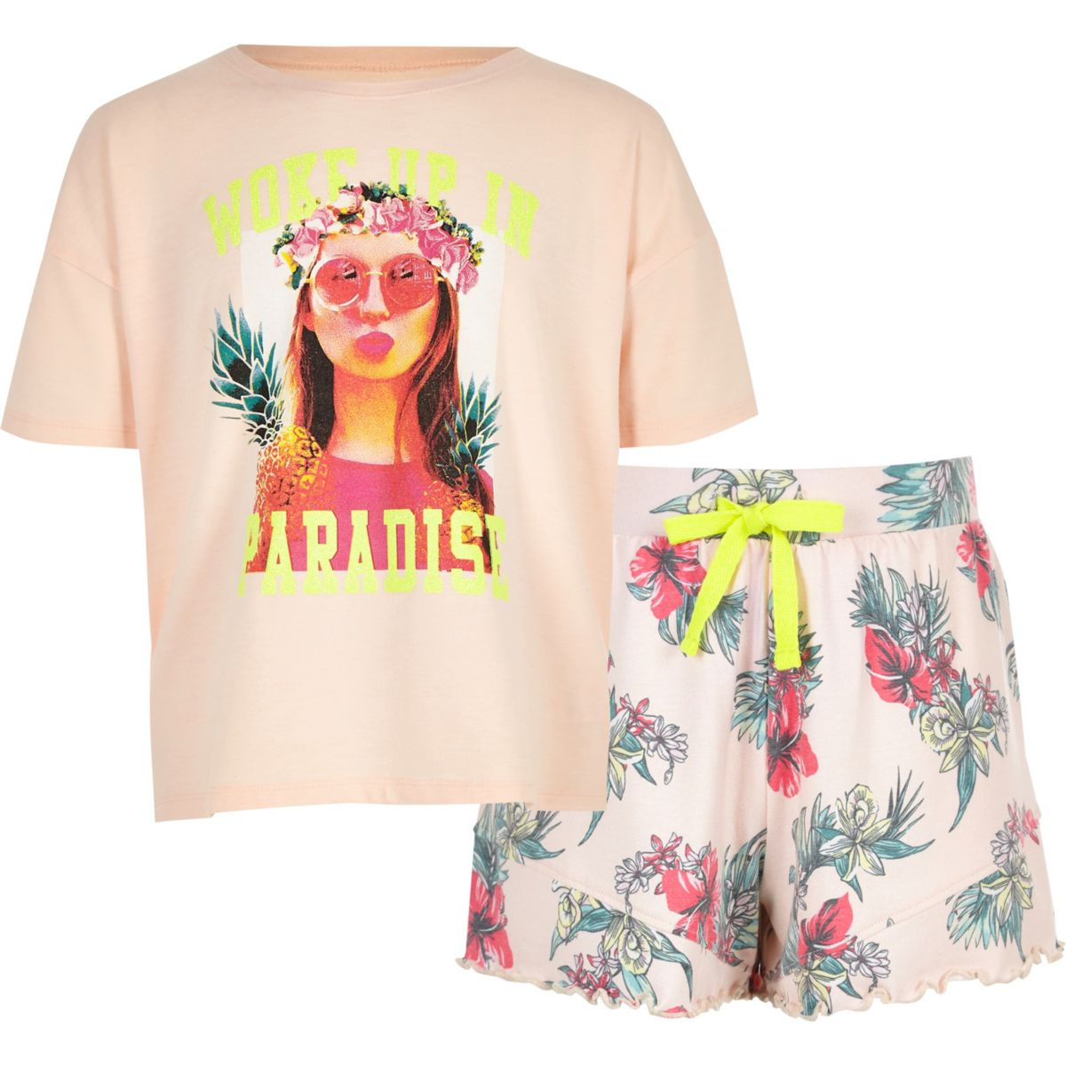 Girls pink 'woke up in paradise' pyjama set